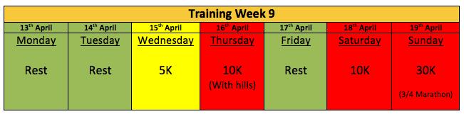 Picture 5 Next weeks training plan