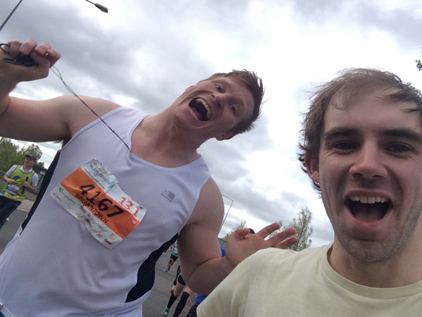Going steady in the first mile- we even found time for 'in-race' selfie!